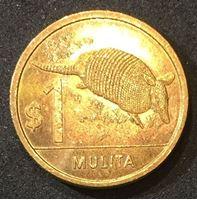 Bild von Уругвай 2011 г. • 1 песо • регулярный выпуск • броненосец (мулита) • MS BU