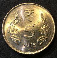 Bild von Индия 2015 г. • 5 рупий • новый символ рупии • регулярный выпуск • MS BU люкс!