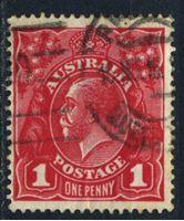 Image de Австралия 1914-20 гг. Gb# 21cf • 1d. • король Георг V (ярко-карминовая) • Used VF ( кат.- £3,25 )