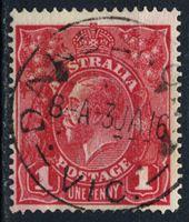 Изображение Австралия 1914-20 гг. Gb# 21cc • 1d. • король Георг V (карминовая) • Used VF ( кат.- £0,75 )