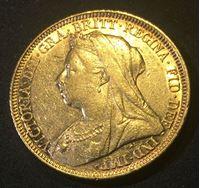 Изображение Австралия 1894 г. S • KM# 13 • соверен • (ЗОЛОТО 917 ПРОБЫ - 7.98 гр.) • королева Виктория • регулярный выпуск • UNC-