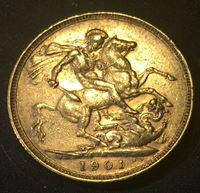 Bild von Австралия 1901 г. M • KM# 13 • соверен • (ЗОЛОТО 917 ПРОБЫ - 7.98 гр.) • королева Виктория • регулярный выпуск • AU+