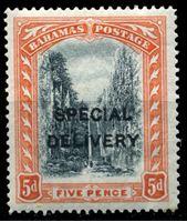"""Bild von Багамы 1917 г. Gb# S2 • 5d. • надпечатка """"специальная доставка"""" • спец. доставка • MLH OG VF"""