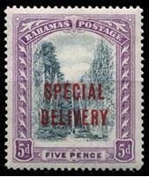 """Bild von Багамы 1918 г. Gb# S3 • 5d. • надпечатка """"специальная доставка"""" • спец. доставка • MLH OG VF"""