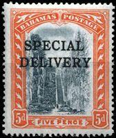 """Picture of Багамы 1916 г. Gb# S1 • 5d. • надпечатка """"специальная доставка"""" • спец. доставка • MLH OG VF ( кат.- £7 )"""