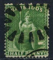 "Bild von Барбадос 1875-1880 гг. Gb# 72 • 1/2d. • ""Британия"" • Used XF+"