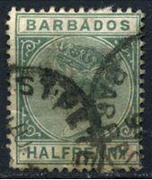 Bild von Барбадос 1882-1886 гг. Gb# 89 • 1/2d. • королева Виктория • Used VF