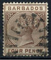 Bild von Барбадос 1882-1886 гг. Gb# 98 • 4d. • королева Виктория • Used XF ( кат.- £6 )