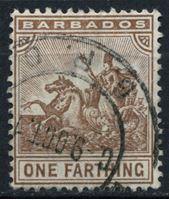 """Изображение Барбадос 1909-1910 гг. Gb# 163 • 1/4d. • аллегория """"Правь Британия!"""" • Used XF"""