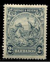 "Bild von Барбадос 1925-35 гг. Gb# 232 • 2d. • ""Правь Британия"" • MLH OG XF"
