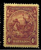 "Bild von Барбадос 1925-35 гг. Gb# 235 • 4d. • ""Правь Британия"" • MLH OG XF"