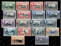 Изображение Фолклендские о-ва 1938-50 гг. Gb# 146-63 • Георг VI основной выпуск • 1/2d. - £1 • фауна и виды островов • MLH OG XF • полн. серия ( кат.- £375 )