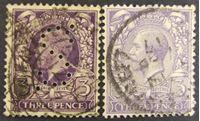 Изображение Великобритания 1912 г. Mi# 132a-132b • 3 пенса • Король Георг Пятый • Used VF ( кат.- €3,5 )