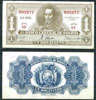 Picture of Боливия 1928г. P# 128a • 1 боливиано • Симон боливар • XF-AU