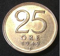 Picture of Швеция 1949 г. KM# 816 • 25 эре • (серебро) • регулярный выпуск • AU+