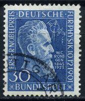 Изображение Германия ФРГ 1951 г. Mi# 147 • 30 pf. • 50-летие вручения Нобелевской премии Вильге́льму Рентге́ну • Used XF ( кат.- €20 )