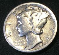 "Picture of США 1942 г. D • KM# 195 • дайм(10 центов) • (серебро) • ""голова Меркурия"" • регулярный выпуск • VF"