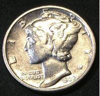 "Picture of США 1939 г. • KM# 195 • дайм(10 центов) • (серебро) • ""голова Меркурия"" • регулярный выпуск • XF+"