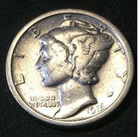 "Picture of США 1919 г. • KM# 195 • дайм(10 центов) • (серебро) • ""голова Меркурия"" • регулярный выпуск • VF"