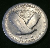 """Picture of США 1919 г. ?? • KM# 145 • квотер(25 центов) • """"слепая"""" (серебро) • """"Стоящая свобода"""" • регулярный выпуск • G"""
