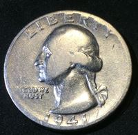 Picture of США 1941 г. S • KM# 164 • квотер(25 центов) • (серебро) • Джордж Вашингтон • регулярный выпуск • F