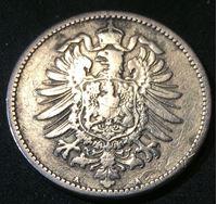 Picture of Германия 1883 г. • KM# 7 • 1 марка • (серебро) • Имперский орел • регулярный выпуск • VG