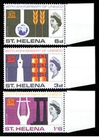 Изображение Святой Елены о-в 1966 г. Gb# 209-11 • 20-летие ЮНЕСКО • MNH OG XF • полн. серия ( кат.- £4 )