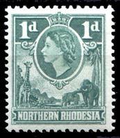 Picture of Северная Родезия 1953 г. Gb# 62 • Елизавета II основной выпуск • 1d. • слоны и жирафы • MNH OG XF