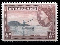 Picture of Ньясаленд 1953-1954 гг. Gb# 173 • Елизавета II основной выпуск • 1/2d. • лодка на озере Ньяса • MNH OG XF