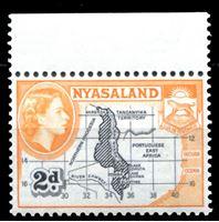 Picture of Ньясаленд 1953-1954 гг. Gb# 176 • 2d. • карта страны • MNH OG XF+