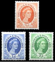 Picture of Родезия и Ньясаленд 1953-1956 гг. Gb# 1-3 • Елизавета II основной выпуск • 1/2 - 2d. • MNH OG XF+