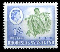 Picture of Родезия и Ньясаленд 1959-1962 гг. Gb# 25 • Елизавета II основной выпуск • 1sh. • носильщик листьев • MNH OG XF+