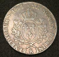 Изображение Франция 1761 г. R (Орлеан) • KM# 523.18 • 1 экю • (серебро) • Людовик XV • регулярный выпуск • VF-