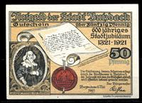 Bild von Германия •  Буцбах 1921 г. • 50 пфеннигов • 600-летие города • локальный выпуск • UNC пресс