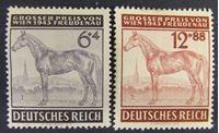 """Image de Германия 3-й рейх 1944 г. Mi# 857-868 • Скачки на """"Большой приз Вены"""" • MLH OG XF ( кат.- €2,2 )"""