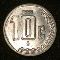 Изображение Мексика 1998 г. • KM# 547 • 10 сентаво • регулярный выпуск • MS BU