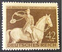 """Image de Германия 3-й рейх 1943 г. Mi# 854 • Скачки на """"Коричневую ленту Германии"""" 1943 • MLH OG XF ( кат.- €1,2 )"""