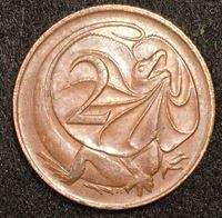 Изображение Австралия 1966 г. • KM# 63 • 2 цента • Плащеносная ящерица • регулярный выпуск • UNC ( кат.- $5,00 )
