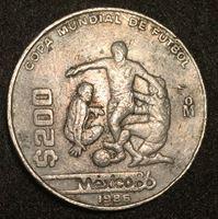 Bild von Мексика 1986 г. • KM# 525 • 200 песо • Футбол. Чемпионат мира • регулярный выпуск • VF+