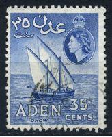 Изображение Аден 1953-63 гг. Gb# 56 • 35 c. • арабский парусник (дау) • Used XF ( кат.- £1,5 )