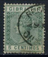 Изображение Гибралтар 1889-96 гг. Gb# 22w • 5c. • Королева Виктория, испанская валюта ( перевернутый в.з.!!) • Used XF ( кат.- £250 )