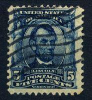 Picture of США 1902-3 гг. SC# 304 • 5c. • Авраам Линкольн • Used VF ( кат.- $2,25 )