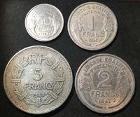Изображение Франция 1945 - 1949 гг. • 50c.,1,2 и 5 франков • набор 4 монеты • регулярный выпуск • VF-XF