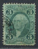 Picture of США 1862-71 гг. SC# R18c • 3c. • Собственность • фискальный выпуск • Used F ( кат.- $10 )