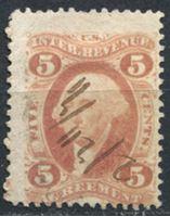 Image de США 1862-71 гг. SC# R23c • 5c. • Для соглашений • фискальный выпуск • Used VF