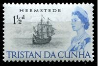 Image de Тристан да Кунья 1965-67 гг. Gb# 73 • Елизавета II основной выпуск • 1 1/2d. • голландское парусное судно XVII века • MLH OG XF