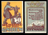 Bild von Германия •  Гнойен 1922 г. • 50 пфеннигов • кузнец за работой • локальный выпуск • UNC пресс