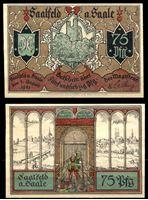 Picture of Германия •  Заальфельд 1921 г. • 75 пфеннигов • замок и виды на город • локальный выпуск • UNC пресс