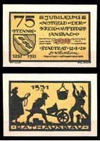 Изображение Германия •  Ансбах 1921 г. • 75 пфеннигов • сцена стройки 1531 года • локальный выпуск • UNC пресс