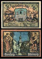 Изображение Германия •  Грюнберг 1921 г. • 50 пфеннигов • ночная улица • локальный выпуск • UNC пресс